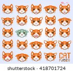 cat emoticon  cat face set ... | Shutterstock .eps vector #418701724