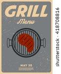 grill menu. vintage poster | Shutterstock .eps vector #418708816