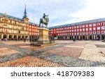 plaza mayor with statue of king ... | Shutterstock . vector #418709383