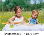 two little girls working... | Shutterstock . vector #418717294