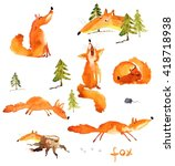 set of watercolor foxes  hand...   Shutterstock . vector #418718938