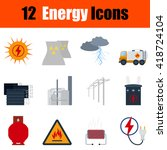 flat design energy icon set in...