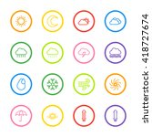 colorful line weather icon set...