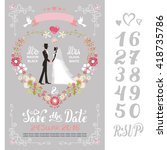 wedding floral invitation cards.... | Shutterstock .eps vector #418735786
