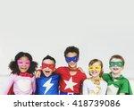 superheroes kids friends... | Shutterstock . vector #418739086