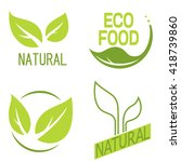 natural logos with leaves. | Shutterstock .eps vector #418739860
