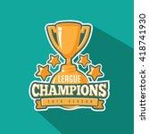 champions trophy flat design.... | Shutterstock .eps vector #418741930