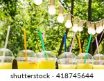 lemonade in plastic cup on the... | Shutterstock . vector #418745644
