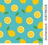 lemon and sliced lemon vector...   Shutterstock .eps vector #418748218