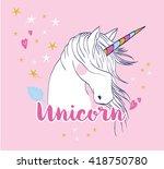 cute magic with unicorn   Shutterstock .eps vector #418750780