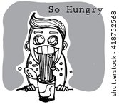hungry man character | Shutterstock .eps vector #418752568