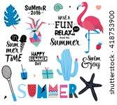 cute summer set of trendy... | Shutterstock .eps vector #418753900