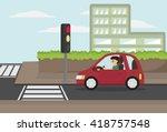 cartoon man driving eco car... | Shutterstock .eps vector #418757548
