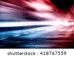 Stock photo blurred car lights long exposure photo of traffic 418767559