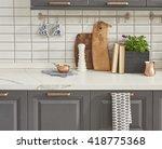 interior design of clean modern ... | Shutterstock . vector #418775368