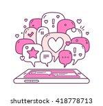 vector illustration of pink... | Shutterstock .eps vector #418778713