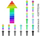 set of rainbow arrow logo icon...