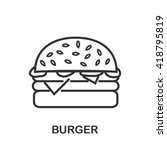 Burger icon or logo line art style. Vector Illustration.