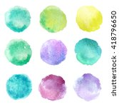 set of hand drawn watercolor... | Shutterstock . vector #418796650