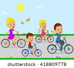 family riding on a bicycle ... | Shutterstock .eps vector #418809778