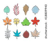 set of colorful  hand drawn... | Shutterstock . vector #418809940
