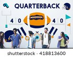 play quarterback rugby american ...   Shutterstock . vector #418813600