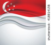 vector singapore flag blowing... | Shutterstock .eps vector #418814158