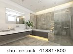 bright bathroom in grey with ... | Shutterstock . vector #418817800