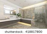 bright bathroom in grey with ... | Shutterstock . vector #418817800