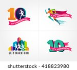 running marathon  icon and... | Shutterstock .eps vector #418823980