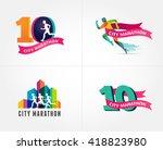 running marathon  icon and... | Shutterstock .eps vector #418823980