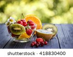 fruit mix strawberry cherry... | Shutterstock . vector #418830400