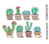cute cactus and succulent set ... | Shutterstock .eps vector #418831078
