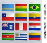 south america flag ribbon set   ... | Shutterstock .eps vector #418831228