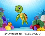 cute turtle with beautiful... | Shutterstock .eps vector #418839370