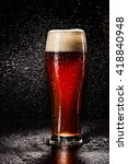 beer glass with drops on black. ... | Shutterstock . vector #418840948