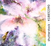 floral background. watercolor... | Shutterstock . vector #418852390