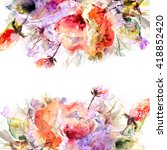 floral frame. watercolor floral ... | Shutterstock . vector #418852420