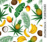 seamless pattern with tropical... | Shutterstock .eps vector #418856680