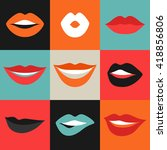 female lips set. mouths with... | Shutterstock .eps vector #418856806