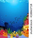 beauty corals with underwater... | Shutterstock .eps vector #418863718