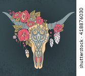 decorative indian bull skull... | Shutterstock .eps vector #418876030