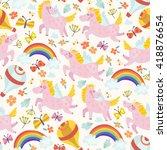 lovely vector seamless pattern... | Shutterstock .eps vector #418876654