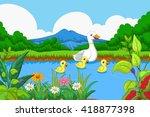 Duck Cartoon Swimming In Lake...