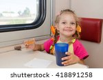 little girl with a happy face... | Shutterstock . vector #418891258