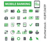 mobile banking icons  | Shutterstock .eps vector #418913659