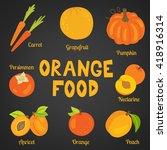 orange food collection on dark... | Shutterstock .eps vector #418916314