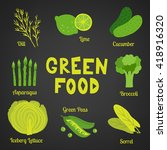 green food collection on dark... | Shutterstock .eps vector #418916320