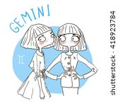 zodiac signs gemini. vector... | Shutterstock .eps vector #418923784