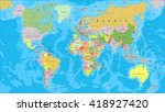 colored world map   borders ... | Shutterstock .eps vector #418927420